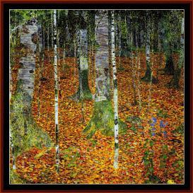 birch trees - klimt cross stitch pattern by cross stitch collectibles