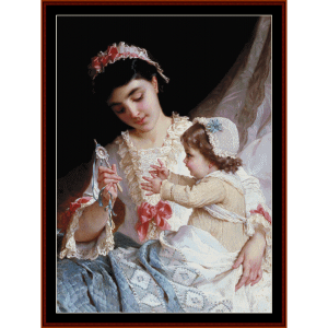 distracting the baby - emile munier cross stitch pattern by cross stitch collectibles
