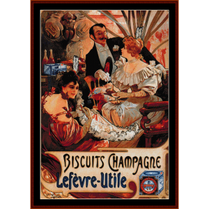 Biscuits Champagne 1896 - Mucha cross stitch pattern by Cross Stitch Collectibles | Crafting | Cross-Stitch | Wall Hangings