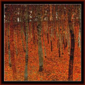 beech forest - klimt cross stitch pattern by cross stitch collectibles