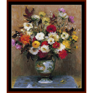 bouquet of dahlias - dyf cross stitch pattern by cross stitch collectibles