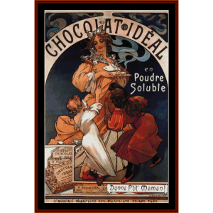 Chocolate Ideal - Mucha cross stitch pattern by Cross Stitch Collectibles | Crafting | Cross-Stitch | Wall Hangings