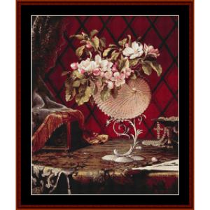 still life with apple blossoms - heade cross stitch pattern by cross stitch collectibles