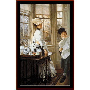 reading the news - tissot cross stitch pattern by cross stitch collectibles