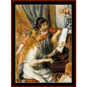 girls at a piano - renoir cross stitch pattern by cross stitch collectibles