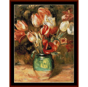 Tulips in a Vase - Renoir cross stitch pattern by Cross Stitch Collectibles | Crafting | Cross-Stitch | Wall Hangings