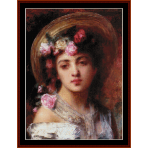 flower girl - harlamoff cross stitch pattern by cross stitch collectibles