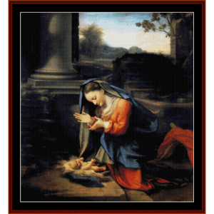 Adoration of the Child - Correggio cross stitch pattern by Cross Stitch Collectibles | Crafting | Cross-Stitch | Religious