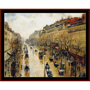 Blvd. Montmarte Rainy Day - Pissarro cross stitch pattern by Cross Stitch Collectibles | Crafting | Cross-Stitch | Wall Hangings