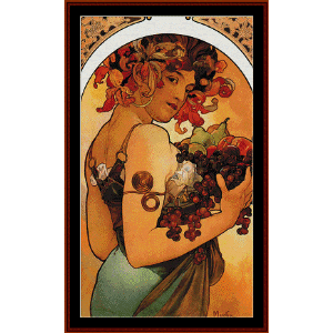 Fruit 1897 - Mucha cross stitch pattern by Cross Stitch Collectibles | Crafting | Cross-Stitch | Wall Hangings