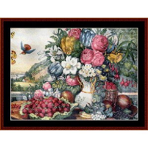 fruits and flowers - currier & ives cross stitch pattern by cross stitch collectibles