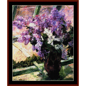 Lilacs in a Window - Cassatt cross stitch pattern by Cross Stitch Collectibles | Crafting | Cross-Stitch | Wall Hangings
