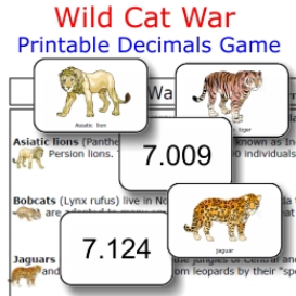 wild cat war:  comparing decimals
