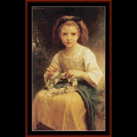 child braiding a crown - bougeureau cross stitch pattern by cross stitch collectibles