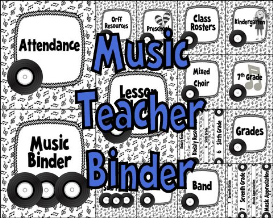 music teacher binder covers and labels black and white records design