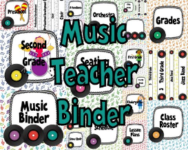 music teacher binder covers and labels white background rainbow records design