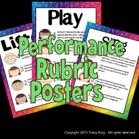 listen, sing, play performance rubrics posters