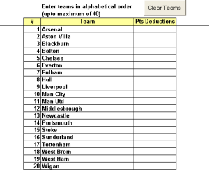 Team Football League Excel Xls Spreadsheet  Documents And