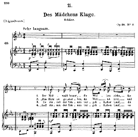 Des Mädchens Klage D.191, Medium Voice in C Minor, F. Schubert (Pet.) | eBooks | Sheet Music