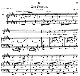 die forelle d.550, medium voice in b major, f. schubert (pet.)