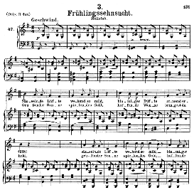 frühlingssehnsucht  d.957-3, medium voice in g major, f. schubert (schwanengesang) pet.