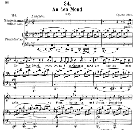 "An den Mond D.193 ""Geuss, lieber Mond"" in D Minor, Medium Voice, F. Schubert, C.F.Peters 