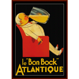 "le ""bon bock"" - vintage poster cross stitch pattern by cross stitch collectibles"