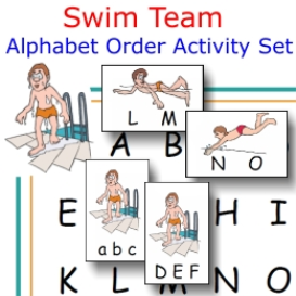 swim team alphabet order activity set