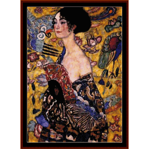 woman with fan - klimt cross stitch pattern by cross stitch collectibles