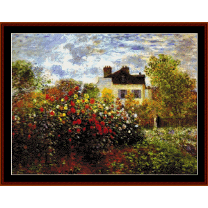 garden at argenteuil - monet cross stitch pattern by cross stitch collectibles