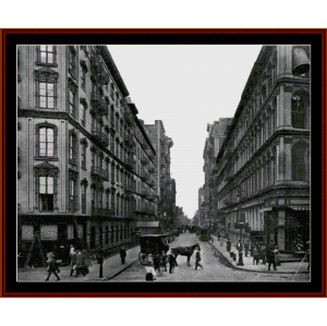 new york street scene 1919 cross stitch pattern by cross stitch collectibles