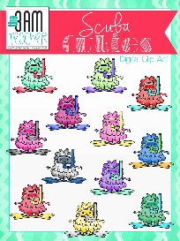 scuba cuties: cute monster clip art set
