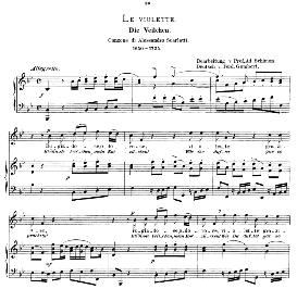 Le violette, High Voice in B Flat Major, A. Scarlatti. Caecilia, Ed. André (1894) Vol. I, 906-a | eBooks | Sheet Music