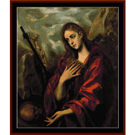 penitent magdalene - el greco cross stitch pattern by cross stitch collectibles
