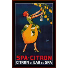 spa citron - vintage poster cross stitch pattern by cross stitch collectibles
