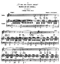 O del mio dolce ardor, Medium Voice in E Minor, C W Glück. Caecilia, Ed. André (1876) Vol. I, 906-b. PD   eBooks   Sheet Music