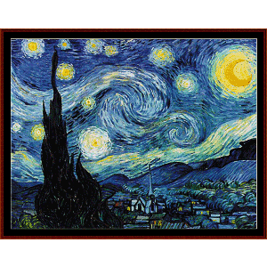 starry night poster-size - van gogh cross stitch pattern by cross stitch collectibles