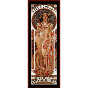 Moet and Chandon 1899 - Mucha cross stitch pattern by Cross Stitch Collectibles | Crafting | Cross-Stitch | Wall Hangings