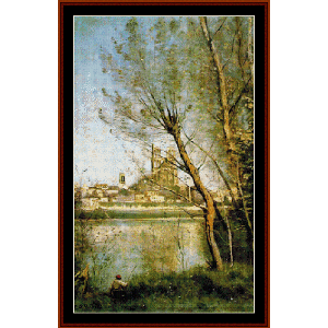 Cathedral at Mantes - Corot cross stitch pattern by Cross Stitch Collectibles | Crafting | Cross-Stitch | Other