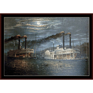 Natchez and Robt. E Lee - Civil War cross stitch pattern by Cross Stitch Collectibles   Crafting   Cross-Stitch   Wall Hangings