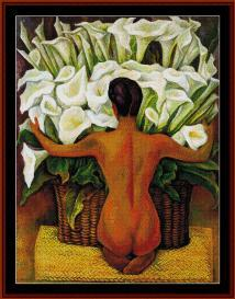 nude with calla lilies - diego rivera cross stitch pattern by cross stitch collectibles
