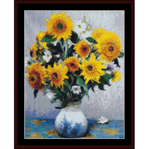 Sunflowers on Blue Table - Dyf cross stitch pattern by Cross Stitch Collectibles | Crafting | Cross-Stitch | Wall Hangings