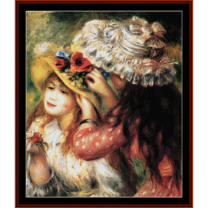 Girls Putting Flowers in Hats - Renoir cross stitch pattern by Cross Stitch Collectibles | Crafting | Cross-Stitch | Wall Hangings