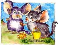 Jack n Jilla Chinchilla Original Cartoon Mini Art Print | Other Files | Clip Art