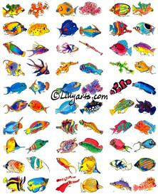 60 Cartoon Tropical Fish Stickers   Other Files   Clip Art
