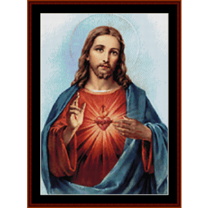 Sacred Heart of Jesus - Religious cross stitch pattern by Cross Stitch Collectibles | Crafting | Cross-Stitch | Wall Hangings