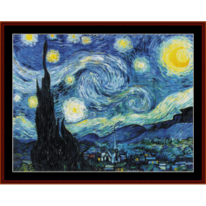 starry night - van gogh cross stitch pattern by cross stitch collectibles