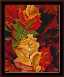 autumn leaves - o'keeffe cross stitch pattern by cross stitch collectibles