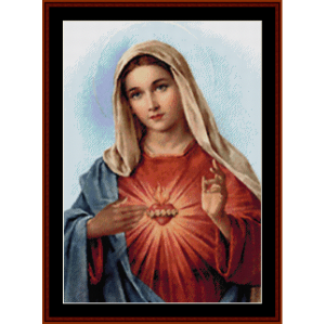 immaculate heart of mary - religious cross stitch pattern by cross stitch collectibles