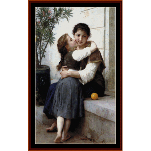 a little coaxing - bouguereau cross stitch pattern by cross stitch collectibles